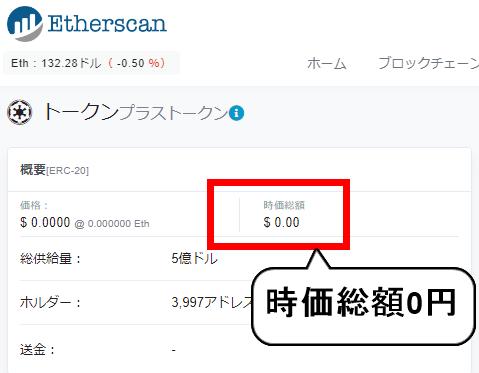 プラストークン時価総額0円