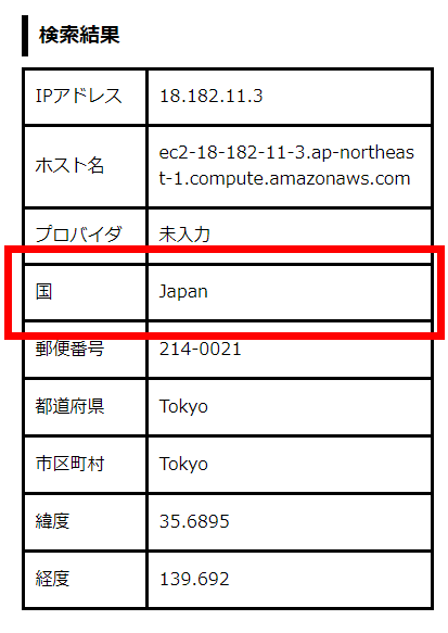 公式サイトのIPアドレスは日本に割り当てられていた