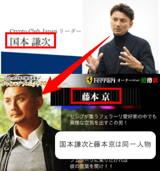国本謙次と藤本京は同一人物