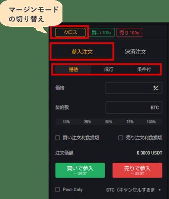 bybitの注文方法